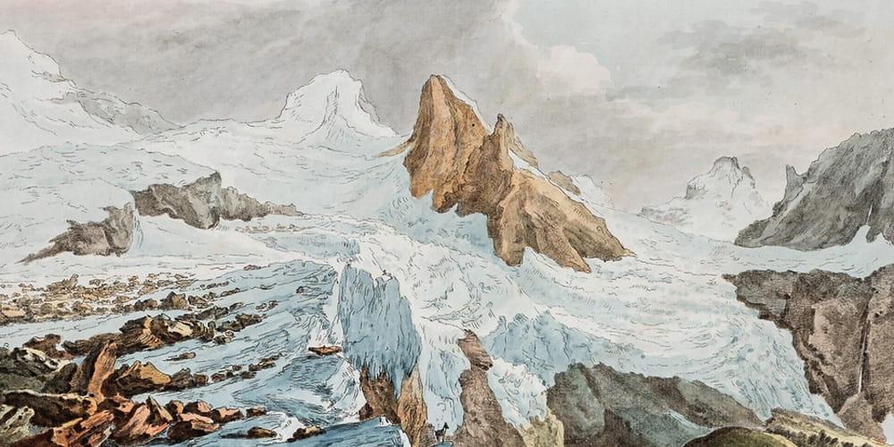 Detalle De La Pintura 'Glacier Du-Breithorn'. Pintura De Caspar Wolf.