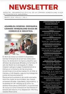 Boletín Marzo 2018 - Cámara Venezolano Suiza de Comercio e Industria