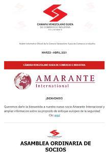 Portada Boletín Marzo - Abril 2021- Cámara Venezolano Suiza de Comercio e Industria